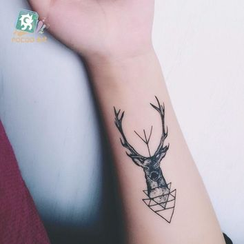 15 Different Color Black Printing Sheep Antelope Tattoo Waterfproof Fake Deer Temporary Fairy Tattoo Sticker For Girls