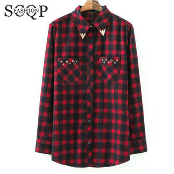 SCQP Red Sequined Plaid Women Blouses Cotton Autumn Office Casual Long Sleeve Shirt Woman Summer 2015 New Womens Flannel Shirts