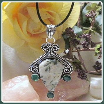 """In Abundance"" Moss Agate  & Green Chalcedony Necklace"