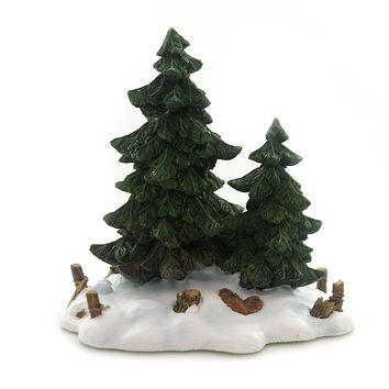 Department 56 Accessory DOUBLE PINE TREES Polyresin Retired Village 52619