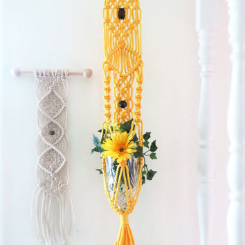 Yellow Macrame Plant Hanger, Short Macrame Hanging Planter, Small Bohemian Beaded Pot Holder, Macrame Pot Hanger, Modern Macrame Hanger