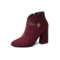 Pointed Toe Suede Ankle Boots Thick Heel Women Shoes 2325