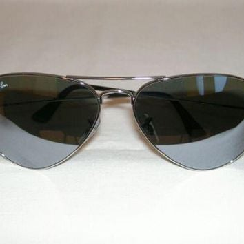New Ray Ban AVIATOR Sunglasses Silver RB 3025 W3275 Silver Mirror Lenses 55mm