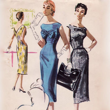 Vintage 1950s Sewing Pattern - Sexy Wiggle Dress with Large Bustline Bow & Band, Plunging V-Back - 1955 McCall's 3498, Bust 30, Uncut