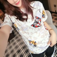 """Gucci"" Personality Tiger Head Letter Rose Flower Print Women Casual Short Sleeve T-shirt Top Tee"