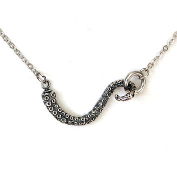 Silver Octopus Tentacle Choker Necklace in Solid White Bronze with Sterling Overlay 115