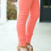 Colored Skinny Jeans - Salmon