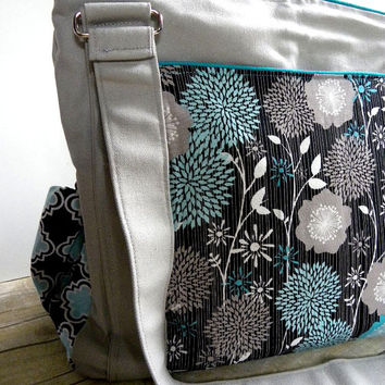 Ready To Ship- Turquoise Mod Flowers- Diaper Bag The Expedient Weekender or Diaper Bag