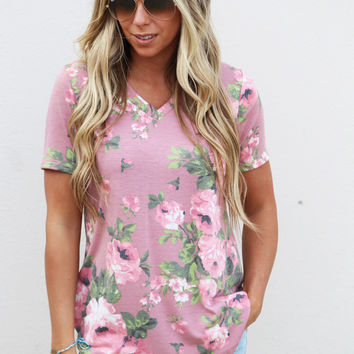 Falling For Floral Top {Mauve}