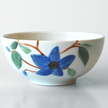 Art Gift / Handmade Porcelain Bowl / Ceral Bowl / Blue Flower / Limoges Porcelain