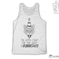You Gotta Fight For Your Right to Purrtay TankTop - Beastie Boys Cat Party Hat Tank Top 110