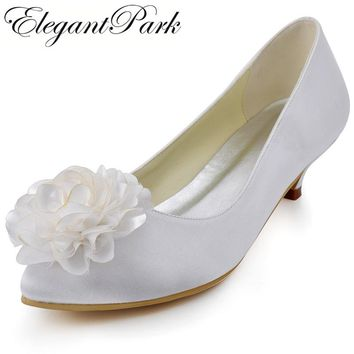 EP2093 Women wedding shoes white ivory Pointed Toe Flower Low Heel Plus Size Comfort Bride Pumps Satin Lady Bridal Party Heels