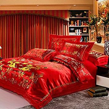 Norson Chinese Traditional Red Sheet Asian Bedding Queen with Dragon and Phoenix Bird Embroidery Duvet Cover Set 4pcs (King)