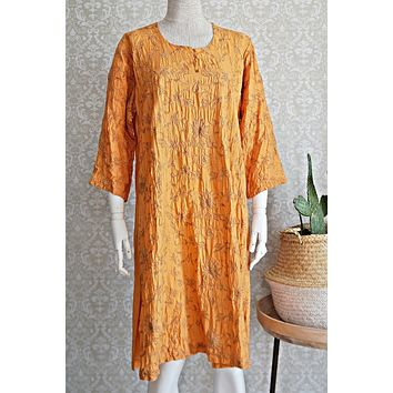 Vintage Floral Embroidery  Raw Silk Dress