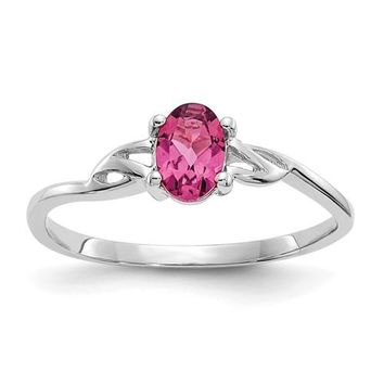 14k or 10k White Gold Genuine Oval Pink Tourmaline October Birthstone Ring