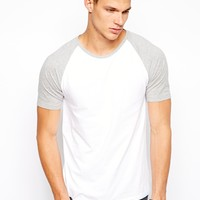ASOS T-Shirt With Contrast Raglan Sleeves - White/gray marl