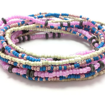Seed bead wrap stretch bracelets, stacking, beaded, boho anklet, bohemian, stretchy stackable multi strand, pink white blue black hematite