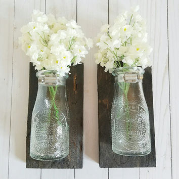 Reclaimed Wood Wall Art - Dairy Bottle Wall Sconce - Bathroom Wall Decor - Kitching Hanging Vase -Living Room Wall Decor - Milk Bottle