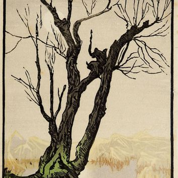 Mountains & Tree Foggy Day Woodblock Print