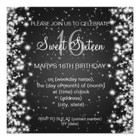 Sweet Sixteen Party Winter Sparkle Black Invites from Zazzle.com