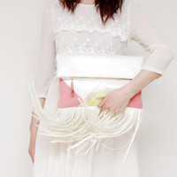 CARRIER 81 / Large leather fringed fold over daily clutch bag - Ready to Ship