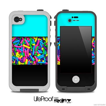 Three-Toned Turquoise Neon Sprinkles Skin for the iPhone 5 or 4/4s LifeProof Case