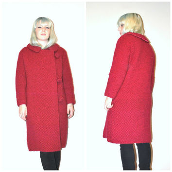 1960s MOD winter coat / vintage 60s UNIQUE long RED wool petite coat