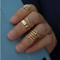 Punk Gold Color Knuckle Rings for women Finger Ring 6 PCS Ring Set Best Selling  0527