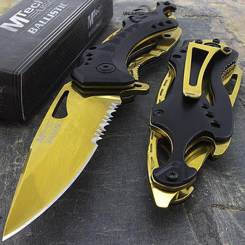 "8"" MTECH USA GOLD SPRING ASSISTED TACTICAL FOLDING KNIFE Blade Pocket Open Black"