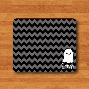 Customized Gift A Litter Ghost Chevron with Personal Name Mouse Pad Geometric Art MousePad Work Design Accessories Girl Halloween Gift