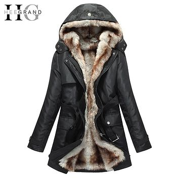 Faux Fur Warm Parka Hood Coat