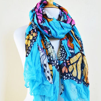 Womens BUTTERFLY IV Print patterned cotton scarf - women fashion accessories - mariposa