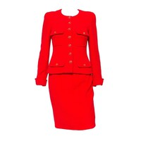 1990s Chanel Iconic Red Boucle Skirt Suit