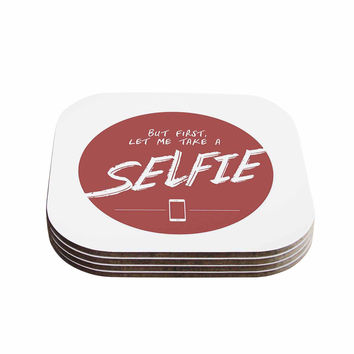 "Juan Paolo ""Let Me Take A Selfie"" Red White Coasters (Set of 4)"