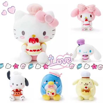 Cute My Melody Pudding Cinnamoroll Dog Hello Kitty Cat Penguin Cake cookie Plush Toy Soft Stuffed Animals Doll for Girls Gifts