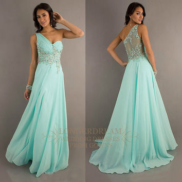 New Hot One Shoulder Sheer Back Pageant Formal Dress/Prom Gown/Sz 6 8 10 12 14