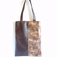 Leather tote bag, vegan leather bag, animal print leather tote bag, real leather straps