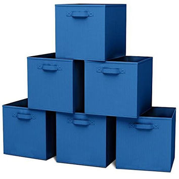 Closet Organizer - Fabric Storage Basket Cubes Bins - 6 Blue Cubeicals Containers Drawers