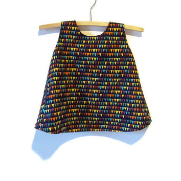 Crossover back baby dress and bloomers set size 0, 6 - 12 months, navy pinny coloured triangle flag bunting, red upcycled lining, reversible