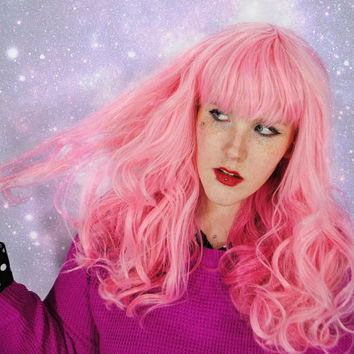 Wig, curly pink wig, scene wig, cosplay wig, pastel pink wig, pink hair, valentine's day - Pink galaxy