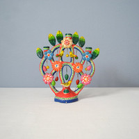 Vintage Mexican Ceramic Tree of Life Candelabra Castillo Family Puebla Attributed