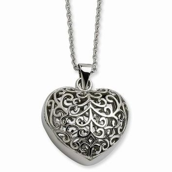 Stainless Steel Filigree Puffed Heart Pendant On Necklace
