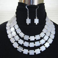 Italian Onyx Necklace and Earring set Statement Necklace Bold Design