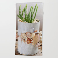 Cactus with seashells pot Beach Towel by Shashira Handmaker