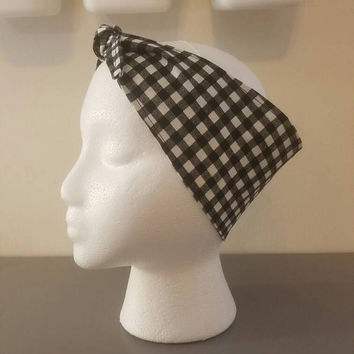Pin - up - rockabilly  - Retro  - vintage  - cherries  - checks- checker - gingham  - wide - Rosie - riveter  - style -  hair tie