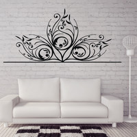 Vinyl Decal  Beautiful Delicate Carving Floral Ornament Wall Sticker for Media Room or Decor (n410)
