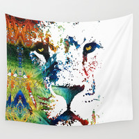 Colorful Lion Art By Sharon Cummings Wall Tapestry by Sharon Cummings