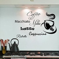 Wall Decals Vinyl Decal Sticker Words Mokka Latte Machiato Cappuccino Coffee Cup Home Interior Design Art Murals Kitchen Cafe Decor