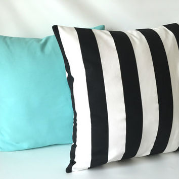 Black Aqua Pillow Cover Set - 18 x 18, Set of Two, Black & White Stripe, Solid Aqua, Robin Egg Blue, Audrey Hepburn Inspired Pillows