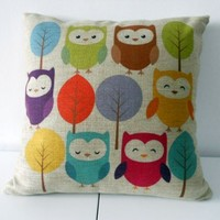 "HOSL Cotton Linen Square Throw Pillow Case Decorative Cushion Cover Pillowcase Cartoon Cute Owls and Trees 18 ""X18 """